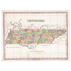 Vintage Map of Tennessee (1827) Canvas Art