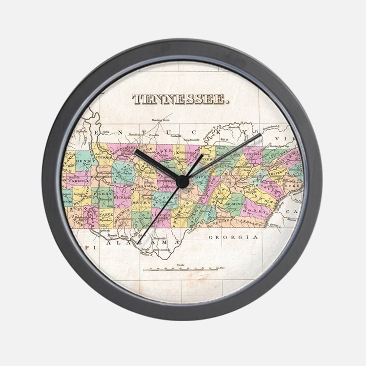 Vintage Map of Tennessee (1827) Wall Clock