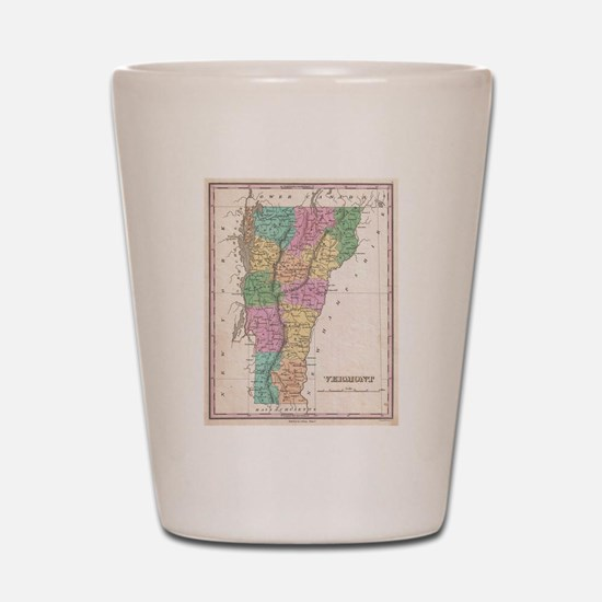 Vintage Map of Vermont (1827) Shot Glass