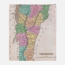 Vintage Map of Vermont (1827) Throw Blanket