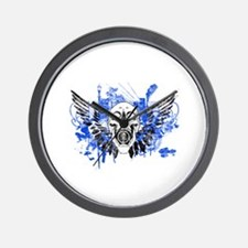 Flying Skull Distressed Wall Clock