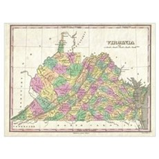 Vintage Map of Virginia (1827) Framed Print