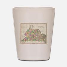 Vintage Map of Virginia (1827) Shot Glass