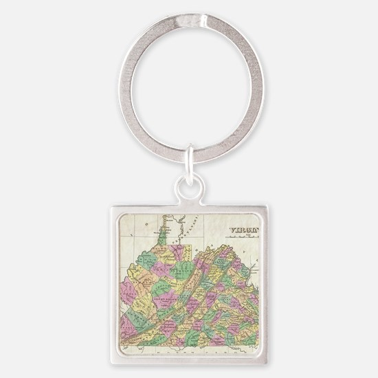 Vintage Map of Virginia (1827) Square Keychain
