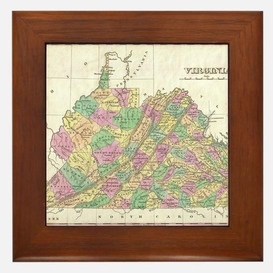 Vintage Map of Virginia (1827) Framed Tile