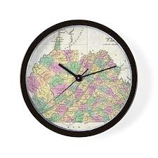 Vintage Map of Virginia (1827) Wall Clock