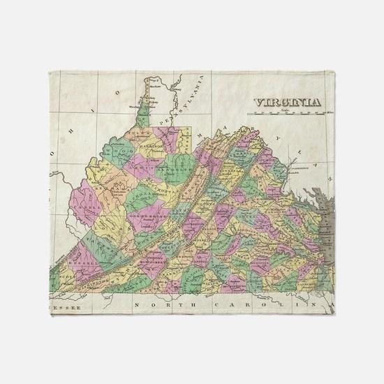 Vintage Map of Virginia (1827) Throw Blanket