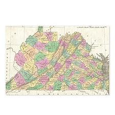 Vintage Map of Virginia ( Postcards (Package of 8)