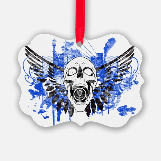 Flying Skull Distressed Ornament