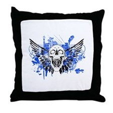 Flying Skull Distressed Throw Pillow