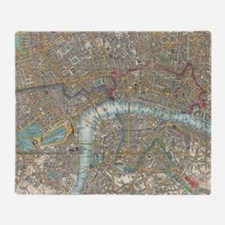 Vintage Map of London (1848) Throw Blanket