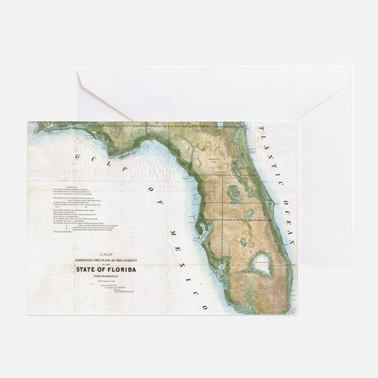 Vintage Map of Florida (1848) Greeting Card