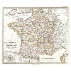 Vintage Map of France (1850) Poster