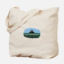 Tractor Plowing Fields Tote Bag