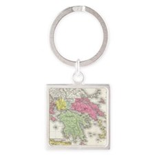 Vintage Map of Greece (1853) Square Keychain