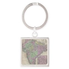 Vintage Map of India (1853) Square Keychain