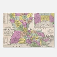 Vintage Map of Louisiana  Postcards (Package of 8)