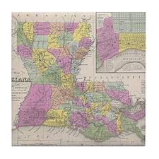 Vintage Map of Louisiana (1853) Tile Coaster
