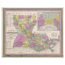 Vintage Map of Louisiana (1853) Canvas Art
