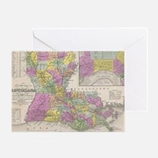 Vintage Map of Louisiana (1853) Greeting Card