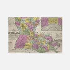 Vintage Map of Louisiana (1853) Rectangle Magnet