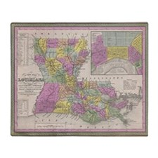 Vintage Map of Louisiana (1853) Throw Blanket