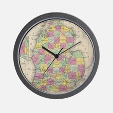 Vintage Map of Michigan (1853) Wall Clock