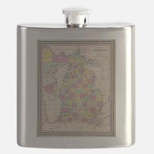 Vintage Map of Michigan (1853) Flask
