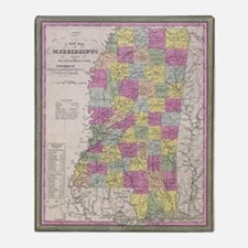 Vintage Map of Mississippi (1853) Throw Blanket