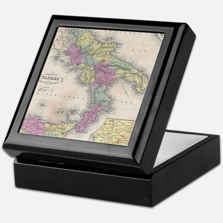 Vintage Map of Southern Italy (1853) Keepsake Box