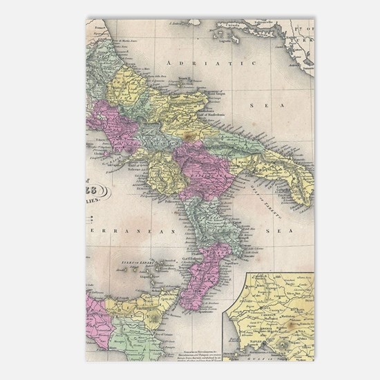 Vintage Map of Southern I Postcards (Package of 8)