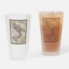 Vintage Map of Southern Italy (1853 Drinking Glass
