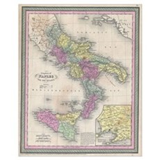 Vintage Map of Southern Italy (1853) Framed Print