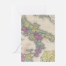 Vintage Map of Southern Italy (1853) Greeting Card