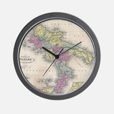 Vintage Map of Southern Italy (1853) Wall Clock