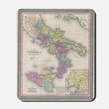 Vintage Map of Southern Italy (1853) Mousepad