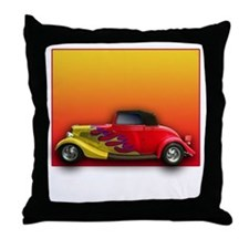 Red Hot Rod with Flames Throw Pillow