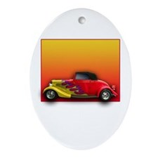 Red Hot Rod with Flames Oval Ornament
