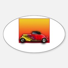 Red Hot Rod with Flames Oval Decal