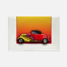 Red Hot Rod with Flames Rectangle Magnet