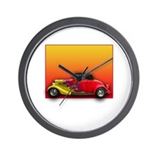 Red Hot Rod with Flames Wall Clock