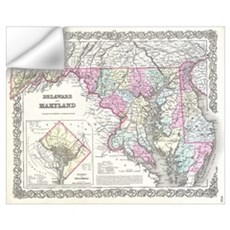Vintage Map of Maryland (1855) Wall Decal