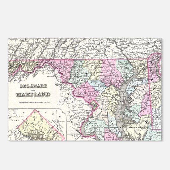 Vintage Map of Maryland ( Postcards (Package of 8)