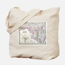 Vintage Map of Maryland (1855) Tote Bag