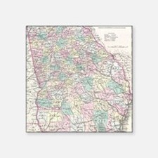 "Vintage Map of Georgia (185 Square Sticker 3"" x 3"""