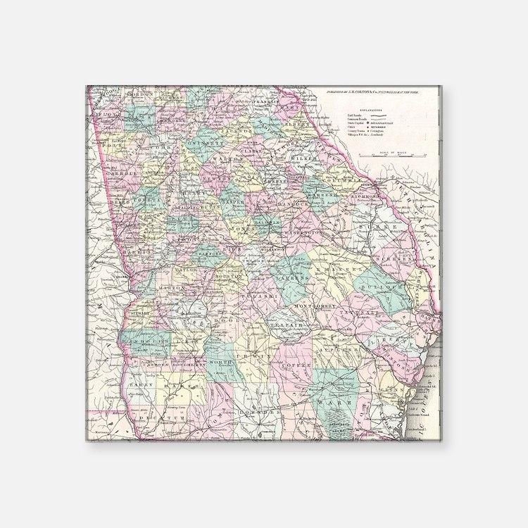 "Vintage Map of Georgia (185 Square Sticker 3"" x 3"""
