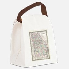 Vintage Map of Georgia (1855) Canvas Lunch Bag