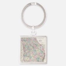Vintage Map of Georgia (1855) Square Keychain