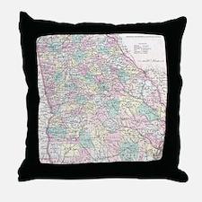Vintage Map of Georgia (1855) Throw Pillow