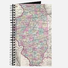 Vintage Map of Illinois (1855) Journal